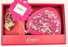girls Candie's coin purse heart shape pink w/pink sequins zipper key ch