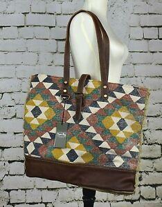 NEW NWT Myra Bag Zappy Weekender Canvas Brown Bag Hand Bag Purse (S-1973)
