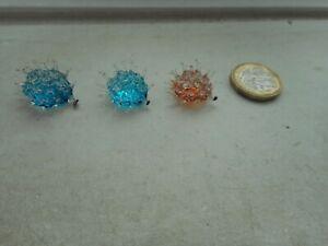 HEDGEHOG  - GLASS -  3 x TINY MINIATURE - 2 x BLUE, 1 BROWN - PRICKLY HEDGEHOGS