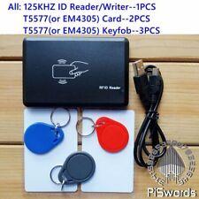 125khz EM4100 card reader writer cloner copier programmer+ blank writable keytag