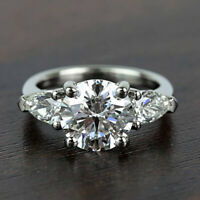 Three Stone 2.60 Carat Round Cut and Pear Diamond Engagement Ring 14k White Gold