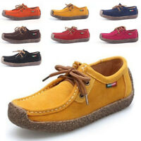 Women's Casual Flat Slip on Round Toe Shoes Loafers Driving Peas Walking Lace Up