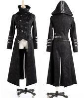 Bid sale!Unisex Punk Rave Gothic Streampunk 2-wear Long&short Jacket Coat Hoodie