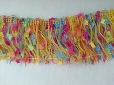 "1 yard colorful multi color fringe yellow hot pink blue lime 2"" belly  /custom"