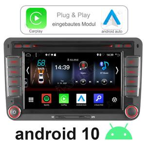 DSP CarPlay Android 10 Autoradio GPS Für VW Golf Passat Tiguan Seat Skoda T5 DVD