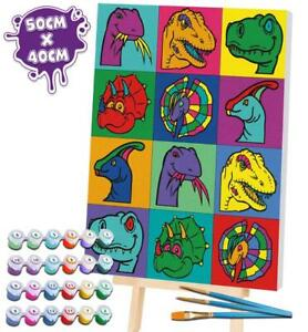 Splat Planet Dinosaur Paint By Numbers - Large Giant Framed Canvas DIY Art Kit