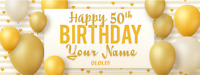 White and Gold 50th Happy Birthday Banner Personalized with Text Decor 3' x 8'