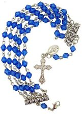 First Communion Five String Blue Acrylic Bead Miraculous Rosary Bracelet