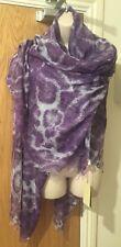 "Stella McCartney Purple Leopard Print Silk Wool Scarf 30"" X  60"""