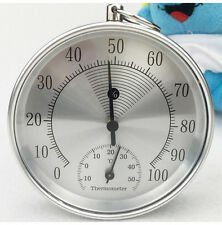 100mm Wall Hanging Mechanical Weather Thermometer Hygrometer Home Indoor Round