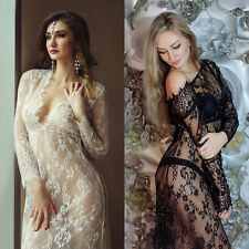 Women Lace Sheer Maternity Dresses Gown Pregnant Photo Shoot Photography Prop