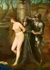 Antique MILLAIS Old Vintage Art Print Medieval Chivalry KNIGHT ERRANT Nude Woman