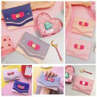 Bow Knot Candy Color Short Wallet Card Coin Bag PU Leather Clutch Purse