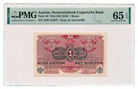 AUSTRIA banknote 1 Krone 1919 PMG MS 65 EPQ Gem Uncirculated