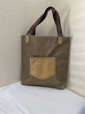 Vintage Gucci Brown PVC Wed Handles Tote Shoulder Handbag
