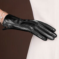Women's Genuine Lambskin Leather Winter Warm Touch Screen Gloves Black Brown Red