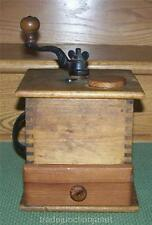 ANTIQUE CAST IRON & WOOD COFFEE MILL CRANK GRINDER w/FINGER JOINTS & WOOD DRAWER