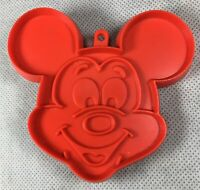 """Vintage Disney Productions Mickey Mouse Plastic Cookie Cutter Red 3 1/2"""""""