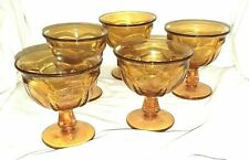 Vintage 5 Indiana Amber Glass Thumbprint Footed Dessert Dishes Goblets