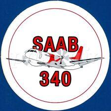 "SAAB 340 SWEDISH TWIN ENGINE TURBOPROP AIRCAFT 3"" ROUND STICKER"