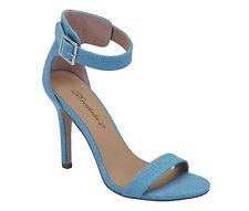 New Blue Denim Ankle Strap Single Sole Pump Sandal Stiletto High Heel Open Toe