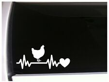 "Chicken Heartbeat Lifeline Vinyl Car Decal 7.5"" *M48 Farm Rooster Cow Barn"