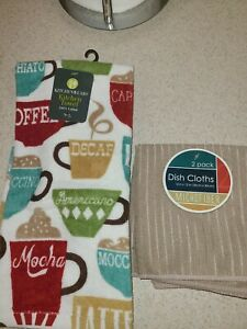 New Kitchen Towel (Coffee themed)And 2 Pack Dish Clothes