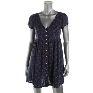 Denim & Supply Ralph Lauren Navy Rayon Floral Babydoll Dress Size S