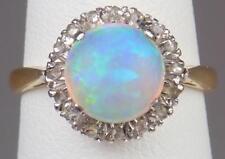 Fine Antique Victorian Edwardian 18K Gold Platinum Opal Cabochon Diamond Ring S6