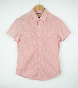 HUGO BOSS ORANGE LABEL CASOE Men's MEDIUM Short Sleeve Pinstripe Shirt 39498_ES