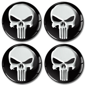4 x Adesivi Resinati Stickers Coprimozzi Copricerchi Centro Ruota Punisher A 1