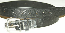 NEW BLACK LEATHER BELT W/BUCKLE HORSE   34 X 1 1/2  FREE S/H