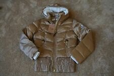 TRUE RELIGION QUILTED PUFF DOWN RIB Jacket W/ Hood L NWT$549 TR Logo's-GOLD!!