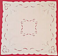 VINTAGE FLORAL CUT EMBROIDERY SOLID OFF WHITE COTTON SQUARE TABLECLOTH