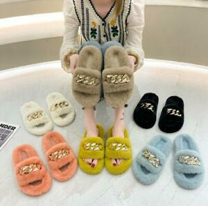 Women's chain plush slippers indoor outdoor plush flat-bottomed warm cotton shoe