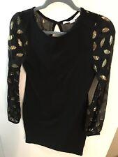 Diane von Furstenberg Knit NWOT  Black W/Sheer Gold Leaf Sleeves Dress  Sz P 0