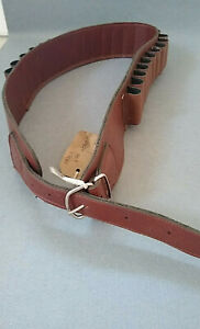 Shotgun cartridge belt brown leather closed loop (12G)
