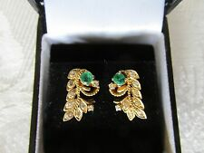 14ct Yellow Gold Handmade Emerald and Diamond Earrings with valuation