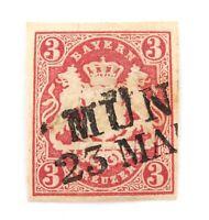 .1867 BAVARIA, GERMAN STATES 3Kr IMPERF MUNICH ?? CANCEL. NICE GRADE, HINGED.