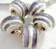 5PCS Silver Single Core Murano Lamp Glass Beads fit European Charm Bracelet A065