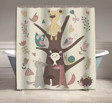 Cartoon Forest Animals Kids Shower Curtain Décor 70 Inches Long