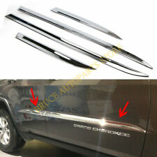4x Chrome Door Body Side Line Molding Cover Trim FOR JEEP GRAND CHEROKEE 2014-18