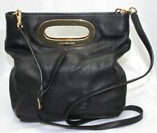 Michael Kors Leather Handbag Purse Black Convertible Clutch Shoulder Foldover