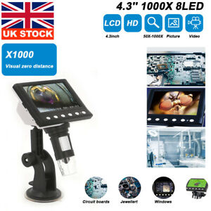 1000X 4.3 Inch Microscope Electronic Digital Video 8LED Magnifier HD LCD Monitor