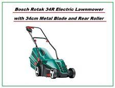 Bosch Rotak 34R Electric Rotary Lawnmower 34cm Metal Blade & Rear Roller