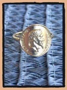 Bague Napoléon Pièce Louis d'or T.56 En Plaqué Or Poinçonné Bijoux Femme