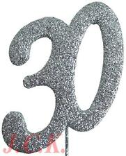 Glittered foam number 30 30th birthday anniversary cake pick topper decoration
