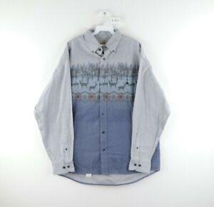 Vintage Cabelas Mens Large Deerskin Soft Chamois Cloth Southwestern Deer Shirt