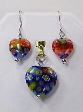 MILLEFIORI Art Glass HEART PENDANT & HEART EARRINGS  Multi Colored Flowers