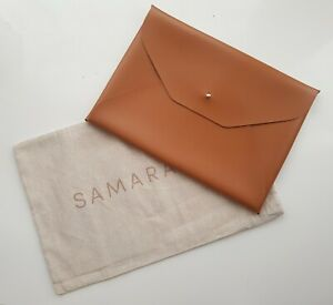 SAMARA Tan Vegan Leather 'The Laptop Sleeve' MacBook Carry Case Wallet Bag